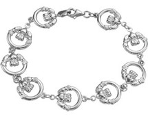 Genuine Sterling Silver Claddagh Bracelet