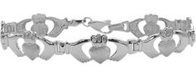 Genuine Sterling Silver Large Claddagh Bracelet