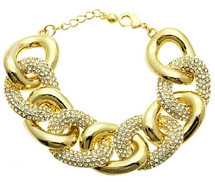 Crystal Link Pave Bracelet in Goldtone