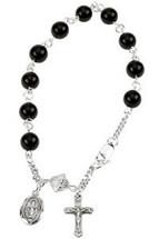 Genuine Sterling Silver Black Onyx Rosary Bracelet