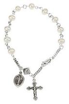 Genuine Sterling Silver Freshwater Pearl Rosary Bracelet