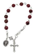Genuine Sterling Silver Garnet Rosary Bracelet