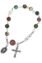 Genuine Sterling Silver Fancy Jasper Rosary Bracelet