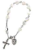Genuine Sterling Silver Heart Mother Of Pearl Rosary Bracelet