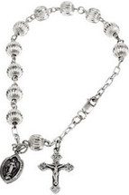 Genuine Sterling Silver Round Fluted Rosary Bracelet