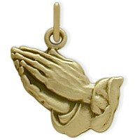 14 Karat Yellow Gold Praying Hands Baby Pendant