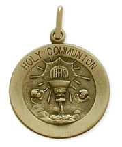 14 Karat Yellow Gold Large Holy Communion Medallion