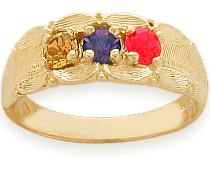 3 Stone Yellow Gold Family Ring