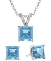 Sterling Silver CHOOSE YOUR GEMSTONE Earrings and Pendant Princess Cut Set