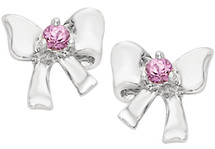 Disney® Bow Genuine Light Pink Sapphire Earrings