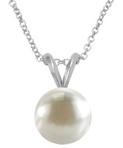 White 8mm Fresh Water Pearl Pendant with Genuine Sterling Silver Bail and Chain