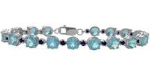 Genuine Sterling Silver Blue Topaz and Sapphire Bracelet