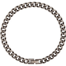 Men's Stainless Steel Oxidized Curb 30 Inch Chain