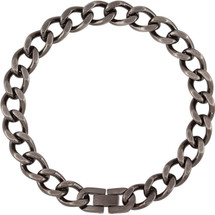 Men's Stainless Steel 30 Inch Oxidized Curb Chain