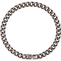 Men's Stainless Steel Oxidized Curb Bracelet