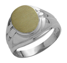 Men's Classy 10 Karat Two-Tone Gold Oval Ring