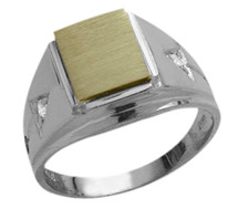Men's 10K Two-Tone Gold & Cubic Zirconia Ring