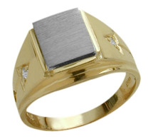 Men's 10 Karat Two-Tone Gold & Cubic Zirconia Ring