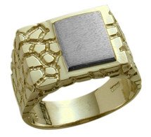 Men's Nugget Style 10K Two-Tone Gold Ring