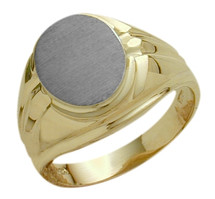 Men's 10 Karat Two-Tone Gold Classy Oval Ring