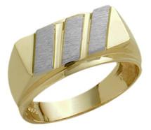 Men's Designer Two-Tone 10 Karat Gold Ring