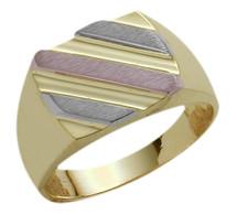 Men's Stylish 10 Karat Tri-Color Gold Ring