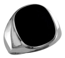 Men's Genuine Sterling Silver High Polish Onyx Ring