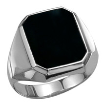 Men's Genuine Sterling Silver Irregular Octagon Onyx Ring