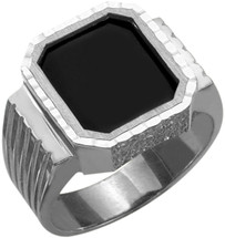Men's Genuine Sterling Silver Detailed Onyx Ring