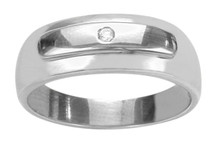Men's Genuine Sterling Silver Diamond Ring