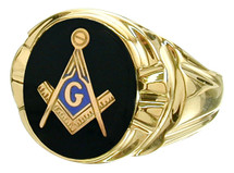 Men's Oval Onyx 10K Yellow Gold Masonic Ring