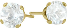1.10Ct. Genuine 5mm Round White Topaz 14K Yellow Gold Stud Earrings