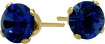 1.20Ct. Created 5mm Round Sapphire 14 Karat Yellow Gold Stud Earrings