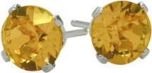 0.80Ct. Genuine 5mm Round Citrine 14 Karat White Gold Stud Earrings