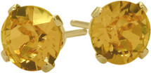 0.80Ct. Genuine 5mm Round Citrine 14 Karat Yellow Gold Stud Earrings