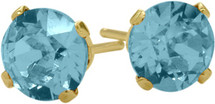 1.10Ct. Genuine 5mm Round Blue Topaz 14 Karat Yellow Gold Stud Earrings