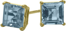 1.20Ct. Created 5mm Square Princess Cut Aquamarine 14 Karat Yellow Gold Stud Earrings