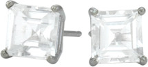 1.30Ct. Genuine 5mm Square Princess Cut White Topaz 14 Karat White Gold Stud Earrings