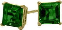 1.10Ct. Created 5mm Square Princess Cut Emerald 14 Karat Yellow Gold Stud Earrings