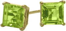 1.35Ct. Genuine 5mm Square Princess Cut Peridot 14 Karat Yellow Gold Stud Earrings
