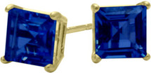 1.20Ct. Created 5mm Square Princess Cut Sapphire 14 Karat Yellow Gold Stud Earrings