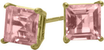 2.00Ct. Created 5mm Square Princess Cut Tourmaline 14 Karat Yellow Gold Stud Earrings