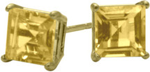 1.20Ct. Genuine 5mm Square Princess Cut Citrine 14 Karat Yellow Gold Stud Earrings