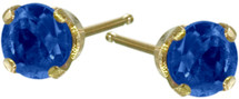 0.30Ct. Genuine 3mm Sapphire 14 Karat Yellow Gold Round Baby Earrings