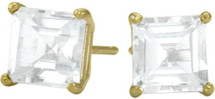 0.84tcw. Genuine 4mm Square Princess White Topaz 14 Karat Yellow Gold Stud Earrings