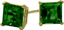 0.65Ct. Created 4mm Square Princess Emerald 14 Karat Yellow Gold Stud Earrings
