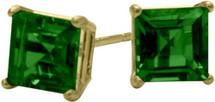 0.65Ct. Created 4mm Square Princess Emerald 14 Karat Yellow Gold Stud Earrings