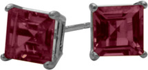 0.86Ct. Genuine 4mm Square Princess Rhodolite 14 Karat White Gold Stud Earrings