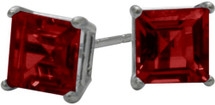 0.76Ct. Created 4mm Square Princess Cut Ruby 14 Karat White Gold Stud Earrings