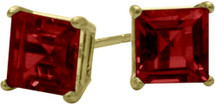 0.76Ct. Created 4mm Square Princess Cut Ruby 14 Karat Yellow Gold Stud Earrings